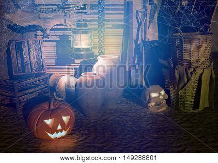 Halloween. Night on an old farm. 3D illustration