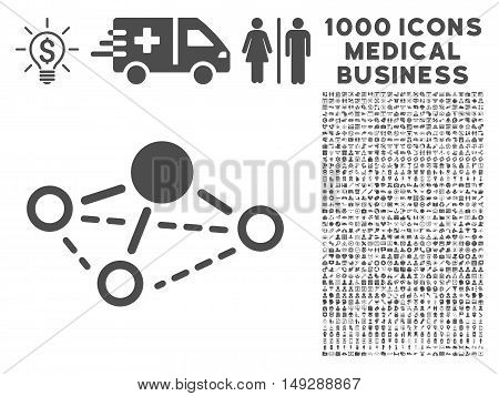 Gray Molecule icon with 1000 medical business vector design elements. Design style is flat symbols, gray color, white background.