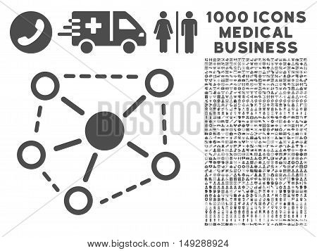 Gray Molecule Links icon with 1000 medical business vector design elements. Design style is flat symbols, gray color, white background.