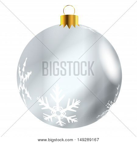A glossy silver Christmas decoration with snowflake patterns isolatedon a white background.