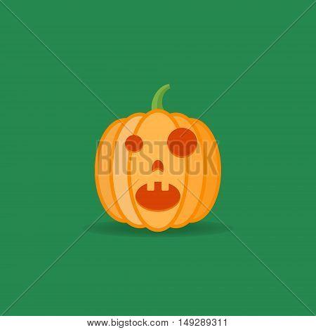 Amazed halloween pumpkin isolated on dark green background. Flat style icon. Vector illustration.