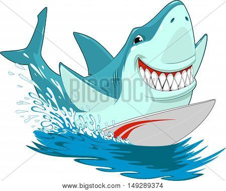 Vector illustration of a great white shark fun riding a surfboard