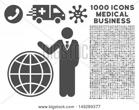 Gray Planetary Manager icon with 1000 medical business vector pictograms. Design style is flat symbols, gray color, white background.