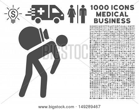 Gray Porter icon with 1000 medical business vector pictograms. Set style is flat symbols, gray color, white background.