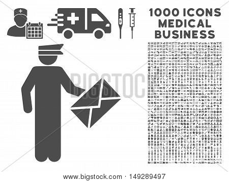 Gray Postman icon with 1000 medical business vector design elements. Design style is flat symbols, gray color, white background.