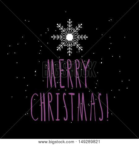 Christmas vector illustration with hand written lettering Merry Christmas. Design element for poster, greeting card, postcard.
