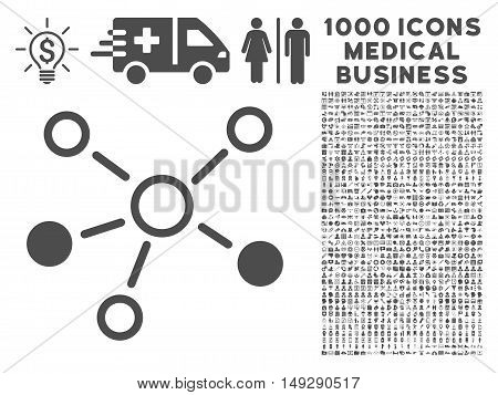 Gray Relations icon with 1000 medical business vector pictograms. Design style is flat symbols, gray color, white background.