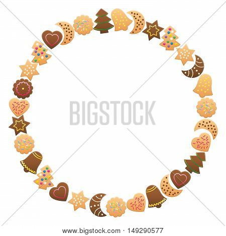 Christmas cookies and gingerbread frame circle. Isolated vector illustration on white background.