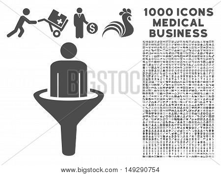 Gray Sales Funnel icon with 1000 medical business vector design elements. Set style is flat symbols, gray color, white background.