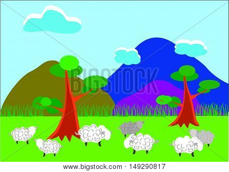 Lambs on a pasture in mountains may be used for any professional projects