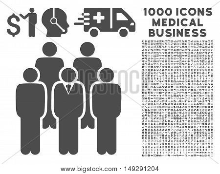 Gray Staff icon with 1000 medical business vector pictographs. Set style is flat symbols, gray color, white background.