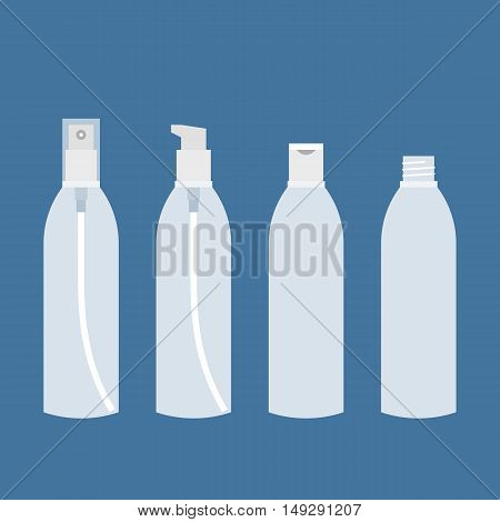 bottle with pump, screw caps, spray and lid for liquid or cosmetic, empty glass or plastic transparent packaging for mock up with long shadow, flat design