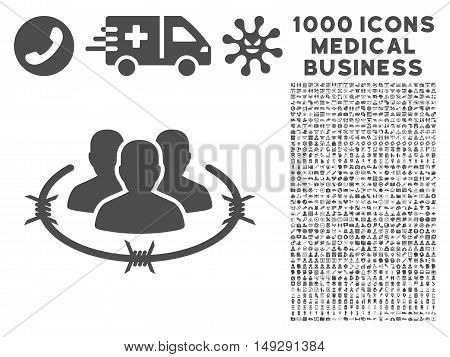 Gray Strict Management icon with 1000 medical business vector pictographs. Collection style is flat symbols, gray color, white background.