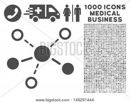 Gray Structure icon with 1000 medical business vector pictographs. Set style is flat symbols, gray color, white background.