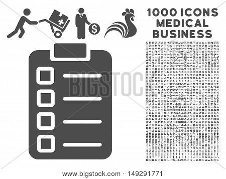 Gray Test Task icon with 1000 medical business vector pictograms. Set style is flat symbols, gray color, white background.