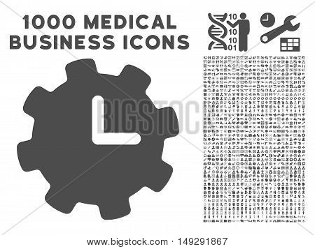 Gray Time Settings icon with 1000 medical business vector pictograms. Collection style is flat symbols, gray color, white background.