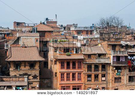 Overpopulated city of Bhaktapur, Kathmandu valley, Nepal