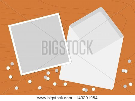 White Opened Blank Envelope letter with greeting card. Realistic mockup template. Confetti on wood table wooden texture desk background. Flat design. Vector illustration