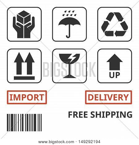 shipping and package handing symbol for carton box, handle with care, recycling sign, up sign, fragile sign, wet sign, import, delivery, free shipping and bar code