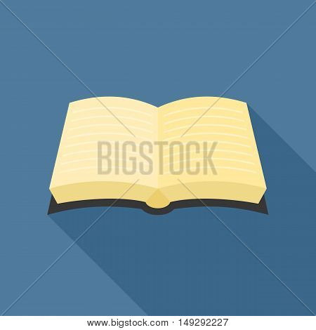 book icon with line inside, flat design vector with long shadow for education concept or bible icon for biblical concept