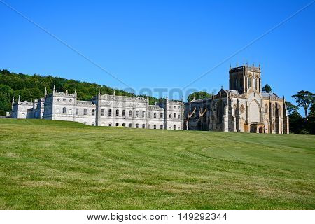 MILTON ABBAS, UNITED KINGDOM - JULY 19, 2016 - View of Milton Abbey church and school Milton Abbas Dorset England UK Western Europe, July 19, 2016.