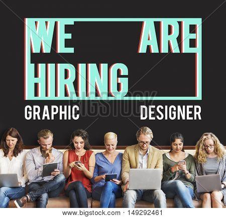 We are Hiring Job Applicaion Creative Occupation Designer Concept