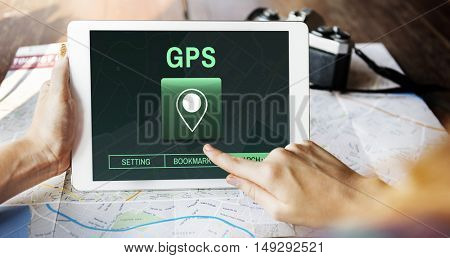 GPS Destination Location Map Concept