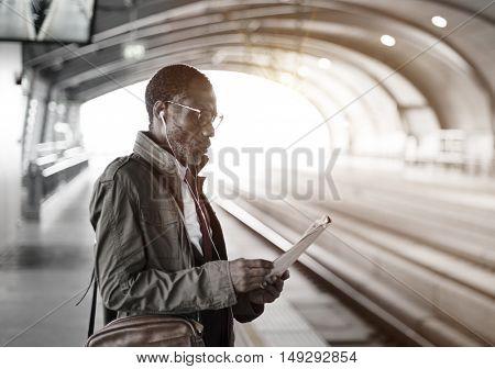 African Descent Businessman Transportation Urban Concept