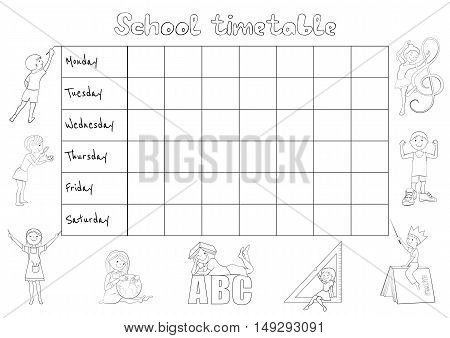 School timetable, Schedule for students coloring page cartoon vector illustration