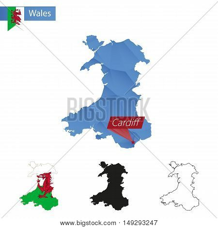 Wales Blue Low Poly Map With Capital Cardiff.