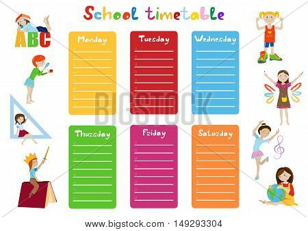 School timetable, weekly schedule for students cartoon vector illustration