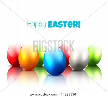 Modern Easter background with colorful eggs on white