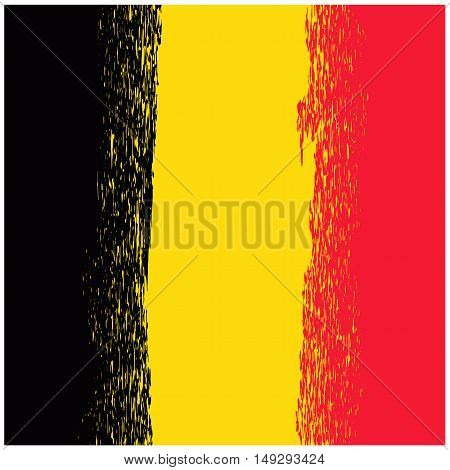 National Grunge Flag of Belgium Isolated. Symbol of Belgian Independence