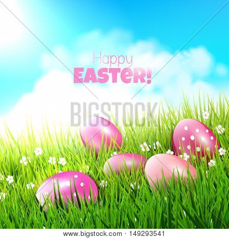 Sweet Easter background with pink eggs in grass