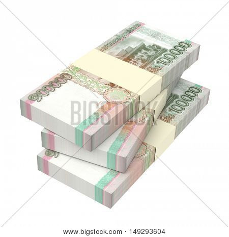 Laotian kip bills isolated on white background. 3D illustration.