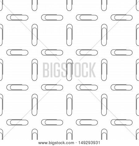 Paper Clip Silhouette Seamless Pattern on White