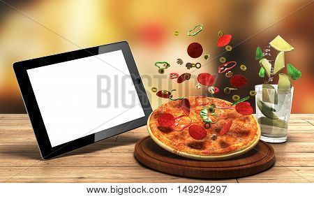 Concept Of Online Food Ordering, Food Delivery, The Food Is Close To The Tablet On A Wooden Boards 3