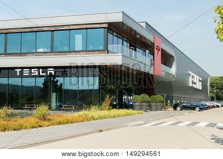 TILGURG, NETHERLANDS - SEPTEMBER 25, 2016: Tesla Motors Assembly Plant in Tilburg, Netherlands.
