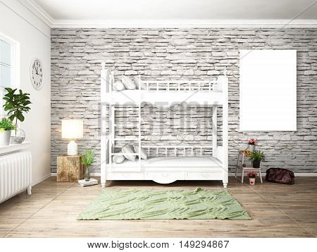 Bright interior with bed in a modern style . 3D rendering