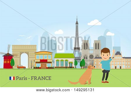 Little boy with dog in Paris, France. Vector illustration