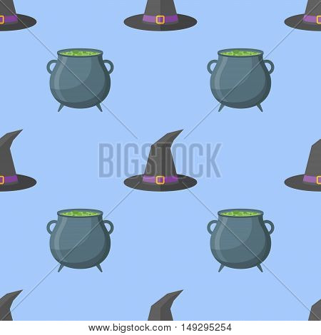 Seamless pattern with witch hat and cauldron on blue background. Halloween vector texture.