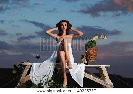Beautiful Girl With Wine