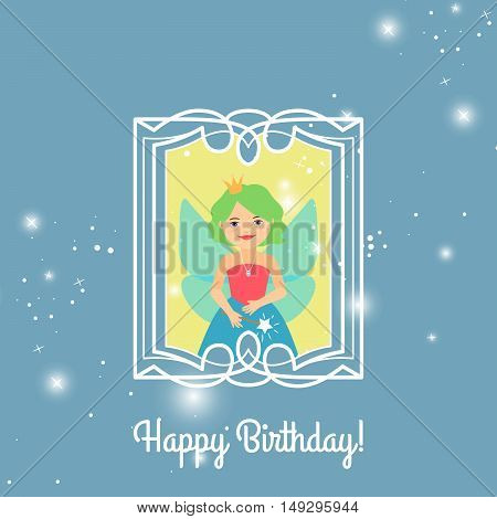 Happy Birthday greeting card template for girls with cartoon princess. Vector illustration
