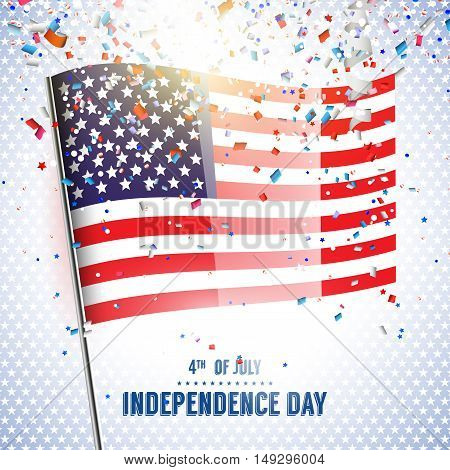 Independence day - vector background with american flag and confetti