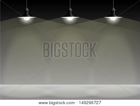 Ancient three black lamp hanging on the wire. Big and empty space illuminated on the grey wall. Vector illustration of lighting.