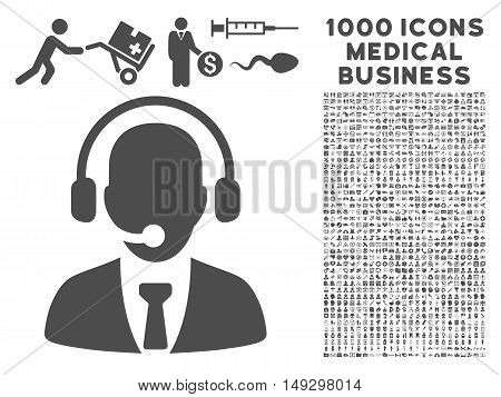 Gray Call Center icon with 1000 medical business glyph pictograms. Set style is flat symbols, gray color, white background.