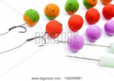 Carp Fishing. Different Of Carp Boilies And Accessories For Carp Fishing Isolated On White Backgroun
