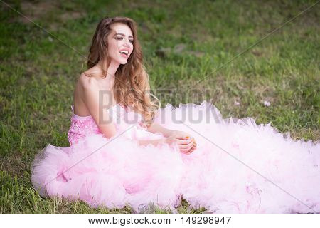 Glamour Woman On Green Grass