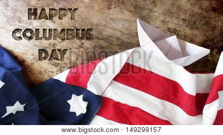 Happy Columbus day. Use Flag on Wood