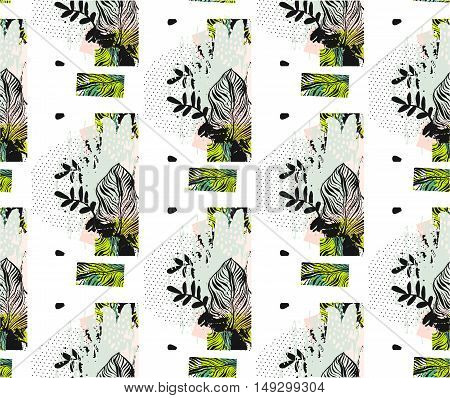 Hand drawn vector abstract artistic textured seamless pattern with green palm leaf polka dot texture isolated on white background.Tropical palm tree leaves.